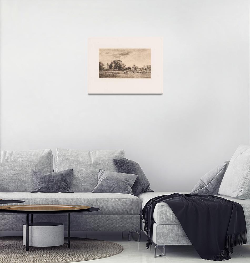 """Charles-François Daubigny~Moonrise (Lever de Lune)""  by Old_master"