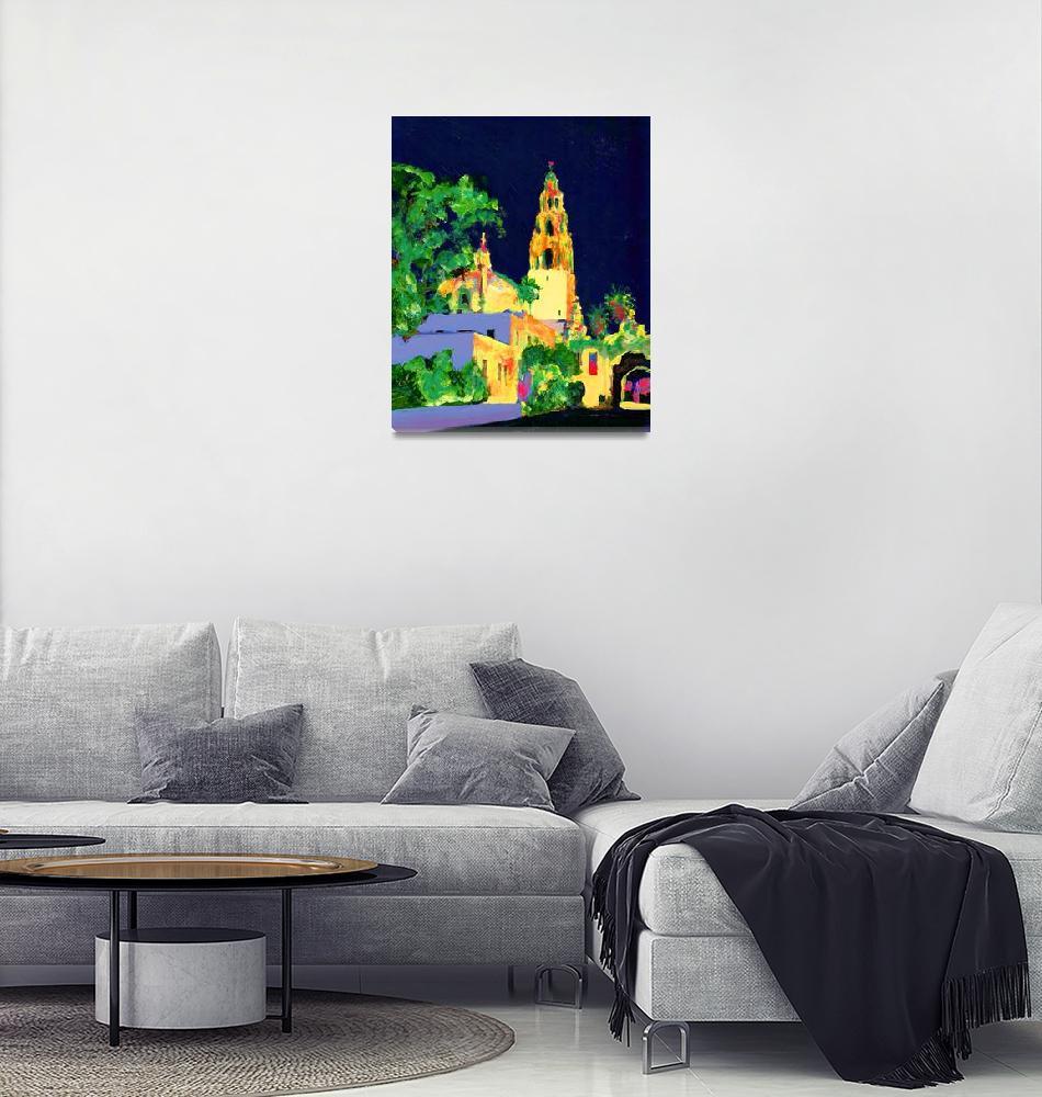 """The California Bell Tower Balboa Park at Night""  (2007) by RDRiccoboni"