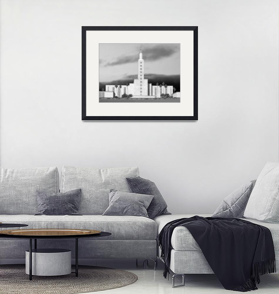 """""""Los Angeles Temple Large-16x22-BW""""  by TerrySpringer"""