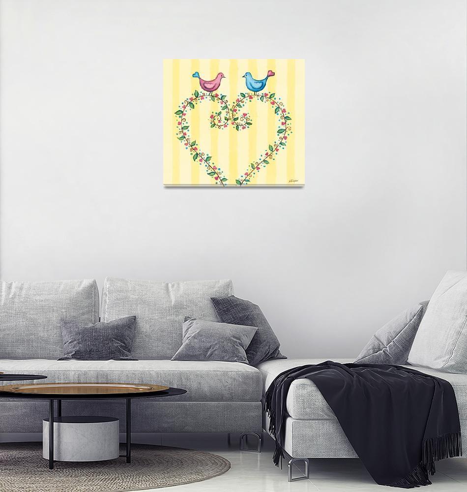 """Love birds with heart wreath.""  (2015) by nopiepan"