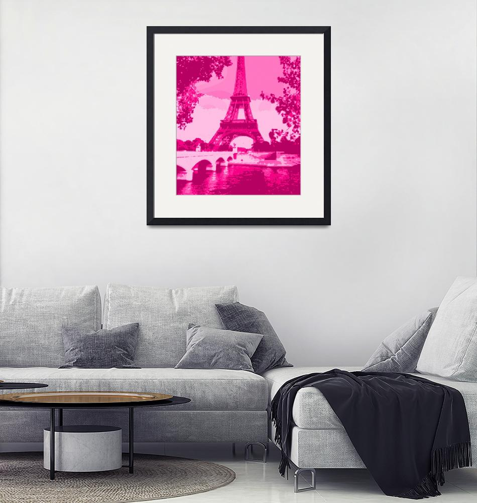 """""""Eiffel Tower Seine River Enhanced Pink Cropped""""  (2013) by TheNorthernTerritory"""