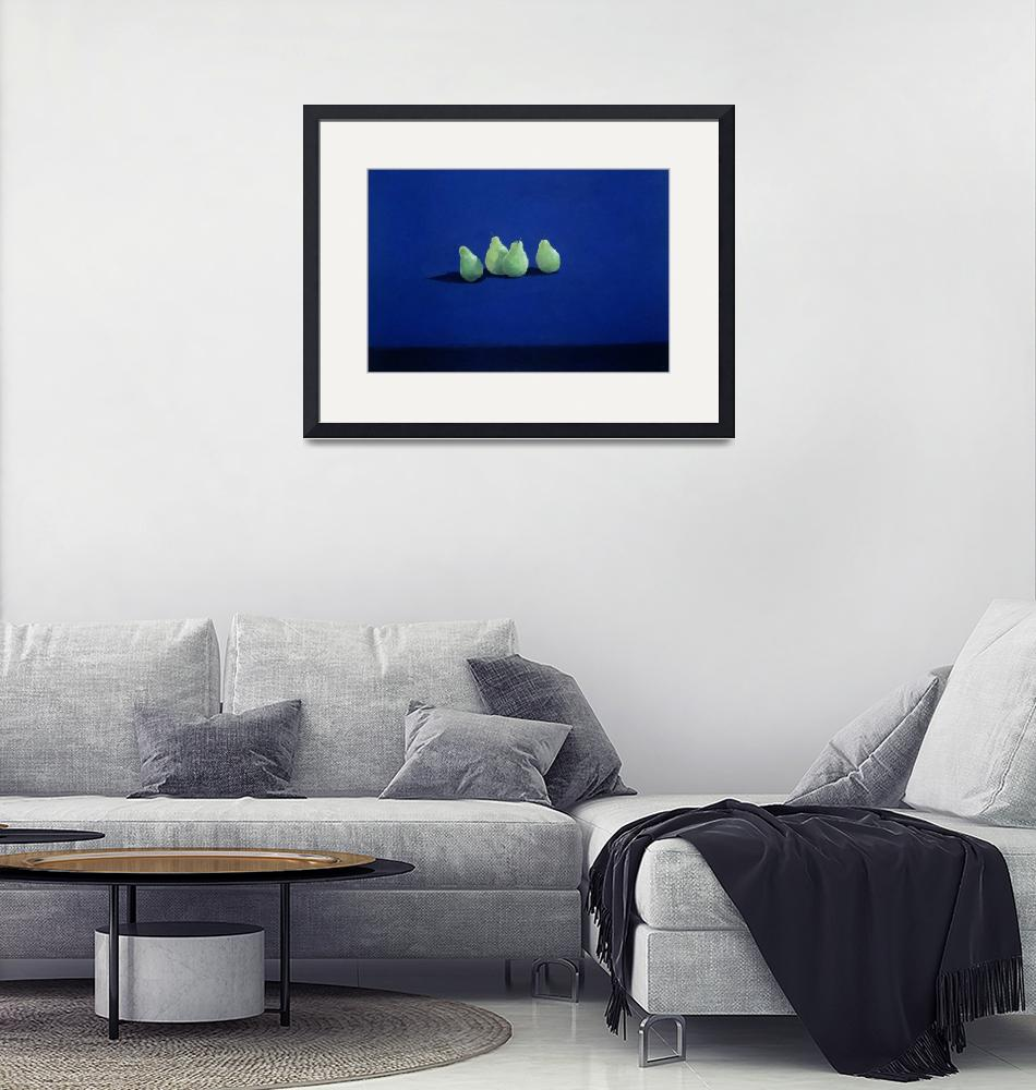 """""""Pears on a Blue Cloth""""  by fineartmasters"""