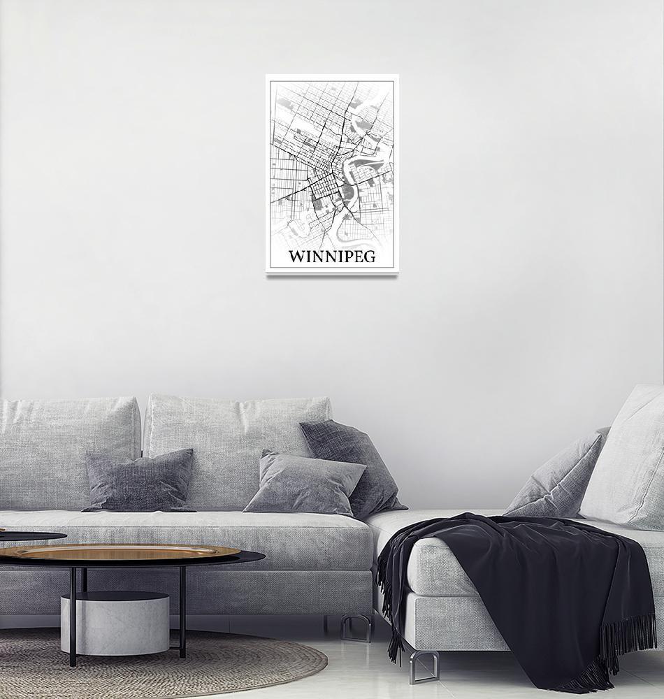 """Winnipeg, Manitoba, Canada, city map print.""  by dandistudio"