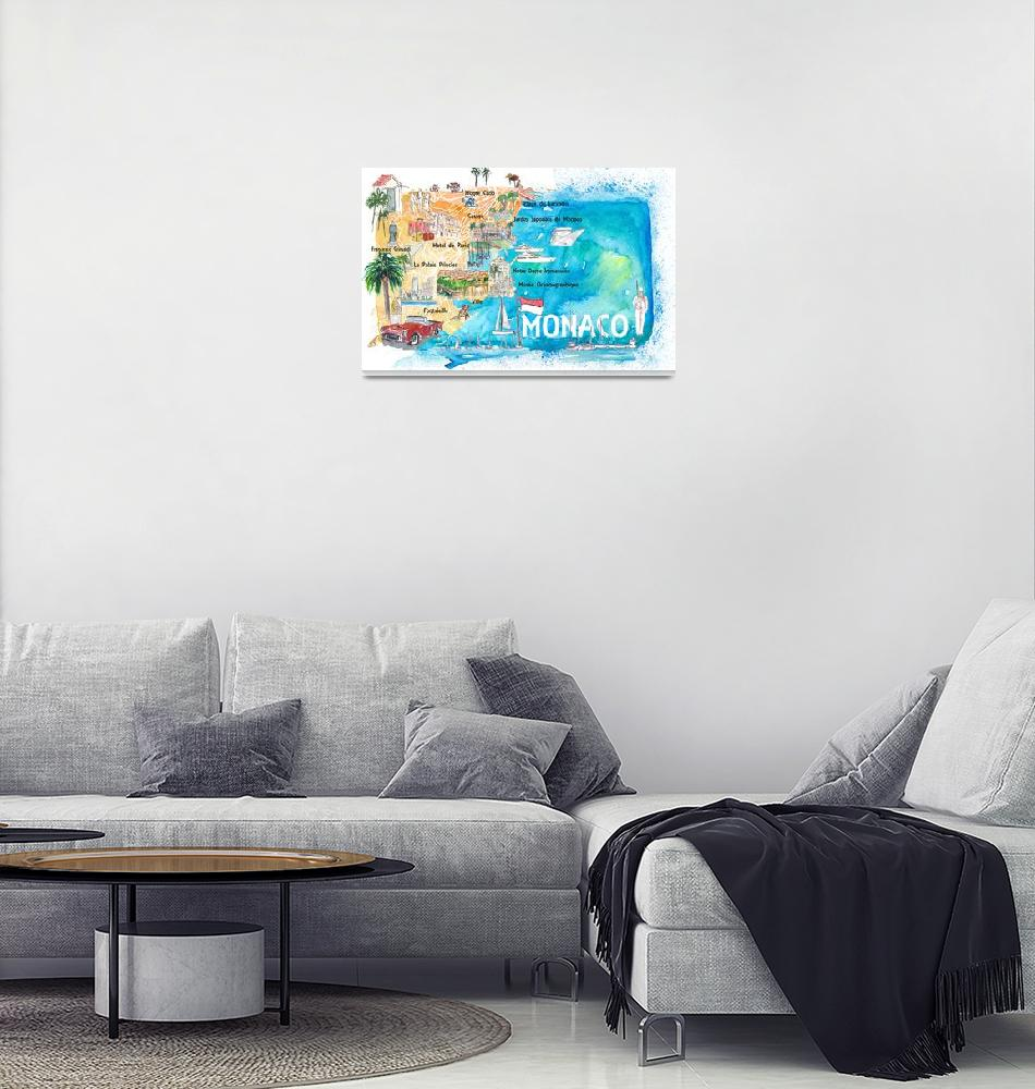 """""""Monaco Monte Carlo Illustrated Map with Landmarks""""  (2020) by arthop77"""