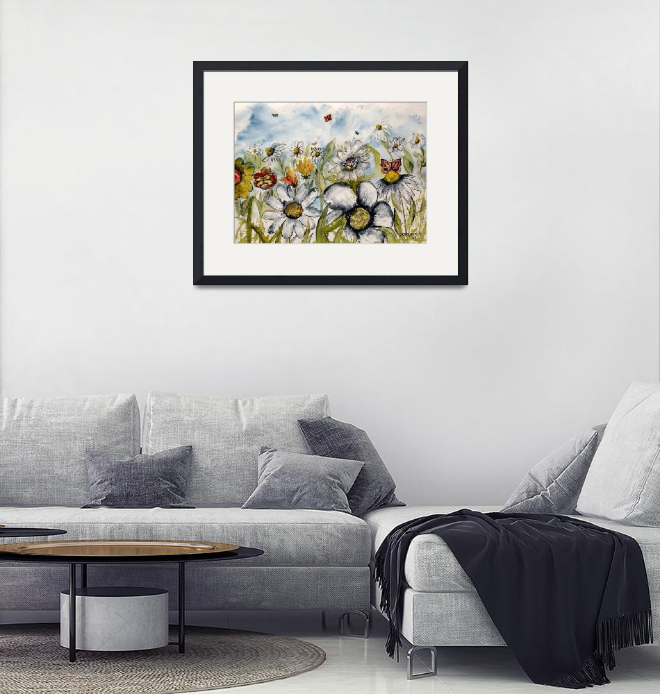 """""""painting of flowers and butterflies""""  (2007) by derekmccrea"""