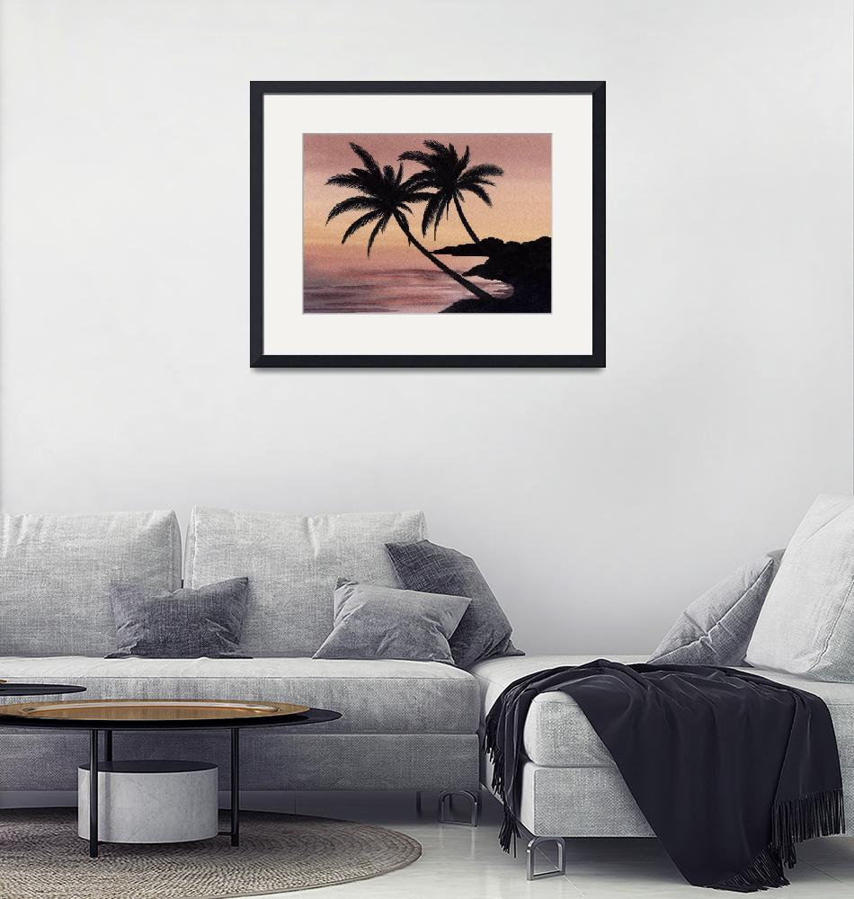 """""""Palm Trees Sunset""""  (2015) by k9artgallery"""