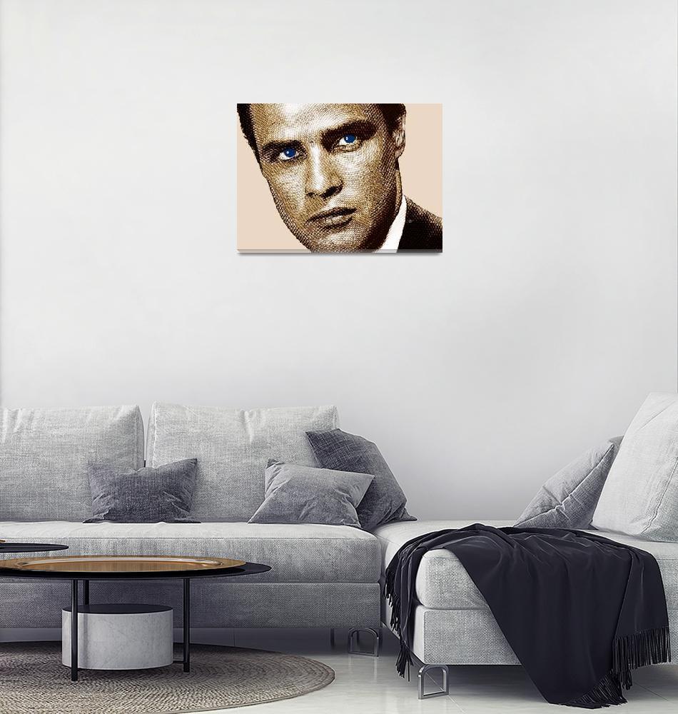 """Young Marlon Brando Etching Sepia Gold""  by RubinoFineArt"