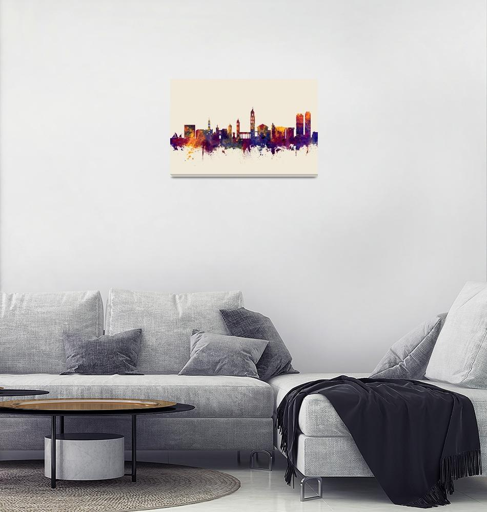 """Split Croatia Skyline""  (2018) by ModernArtPrints"