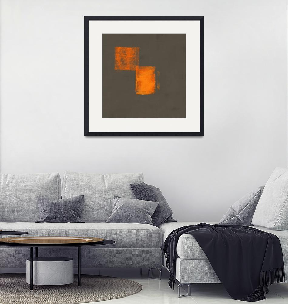 """""""Gray Orange Abstract #18""""  (2019) by EmericoStyle"""