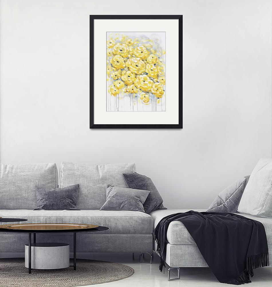 """""""""""inspired"""" Yellow Grey Flowers""""  (2017) by ChristineBell"""