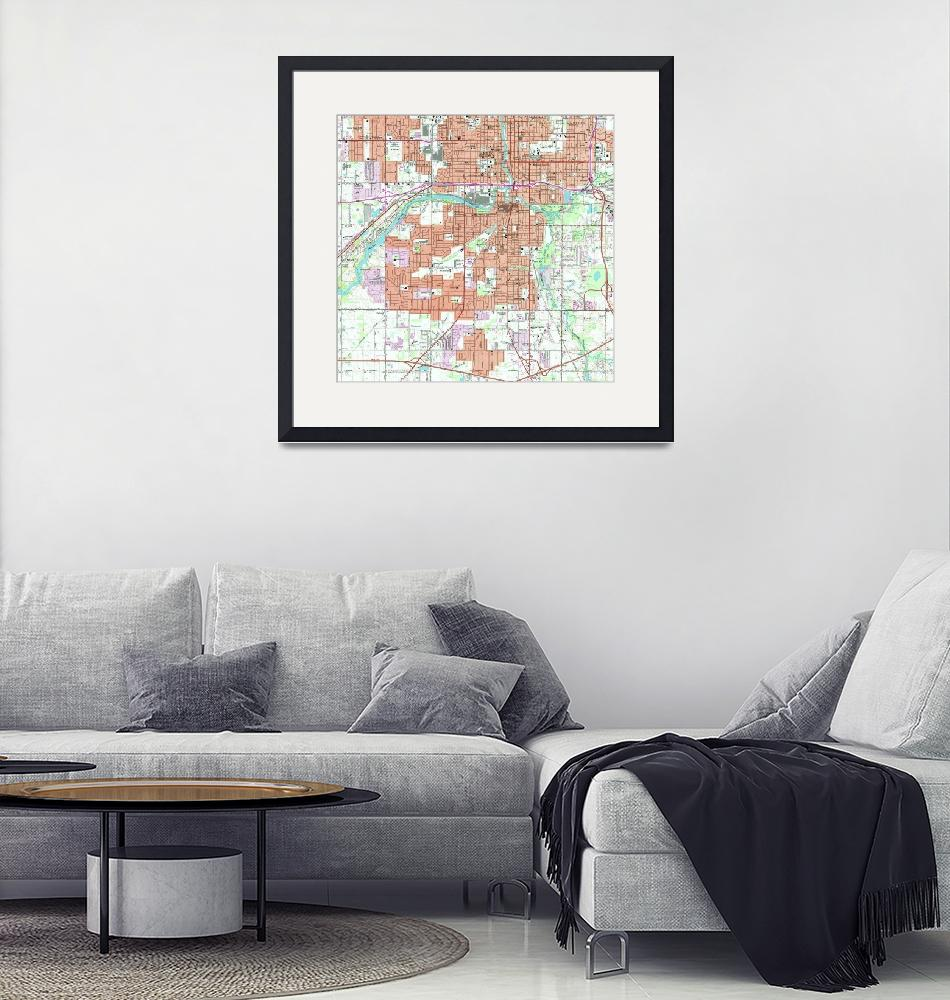"""Vintage Map of Lansing Michigan (1965)""  by Alleycatshirts"