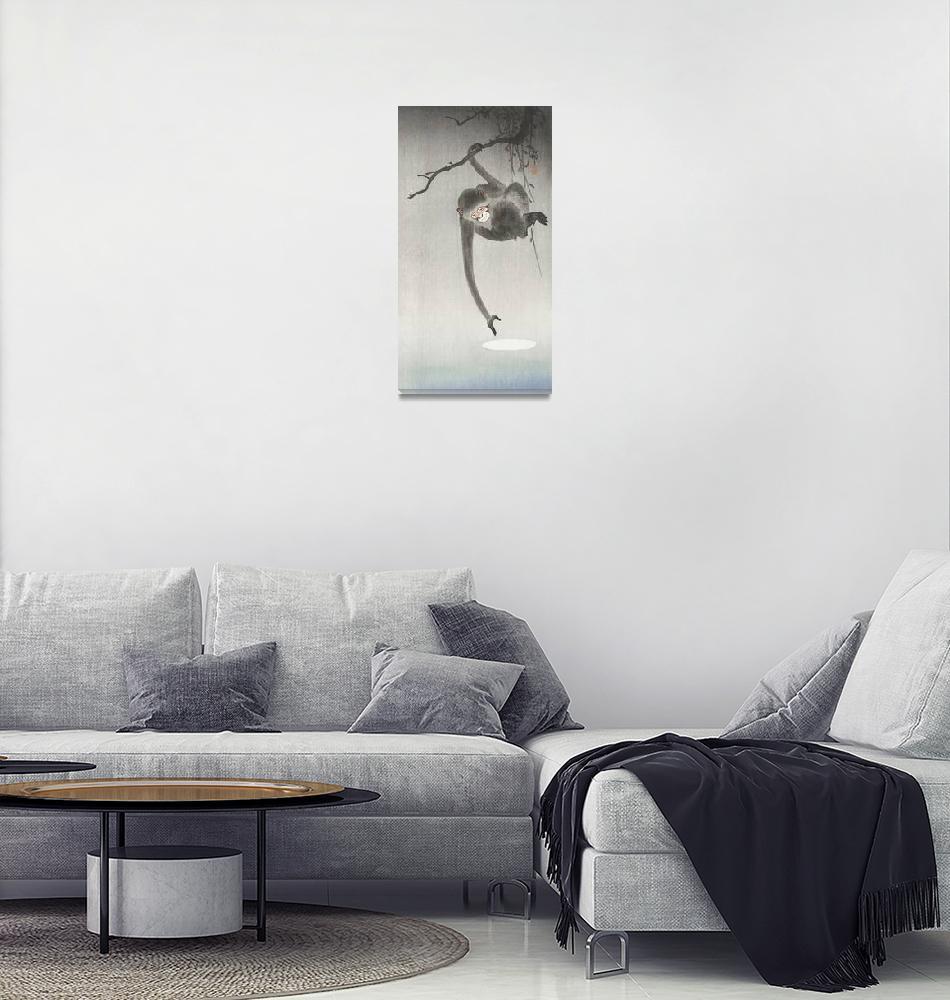 """Monkey and Moon Reflection by Ohara Koson""  by FineArtClassics"