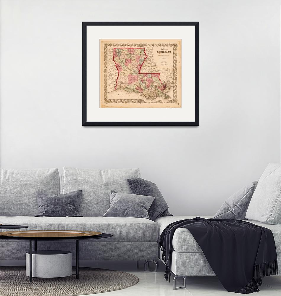 """""""Louisiana Map by J.H. Colton (1855)""""  by ArtHistory"""