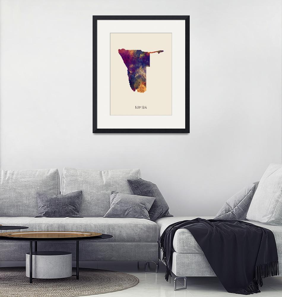 """Namibia Watercolor Map""  (2019) by ModernArtPrints"
