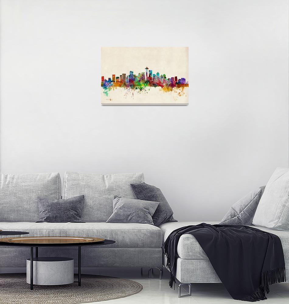 """Seattle Washington Skyline""  (2013) by ModernArtPrints"