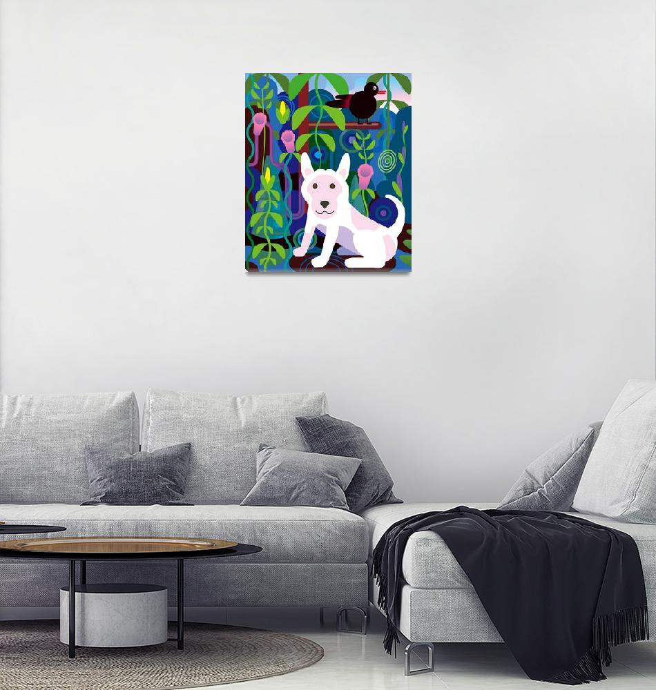 """""""White Dog in Jungle""""  (2012) by charker"""