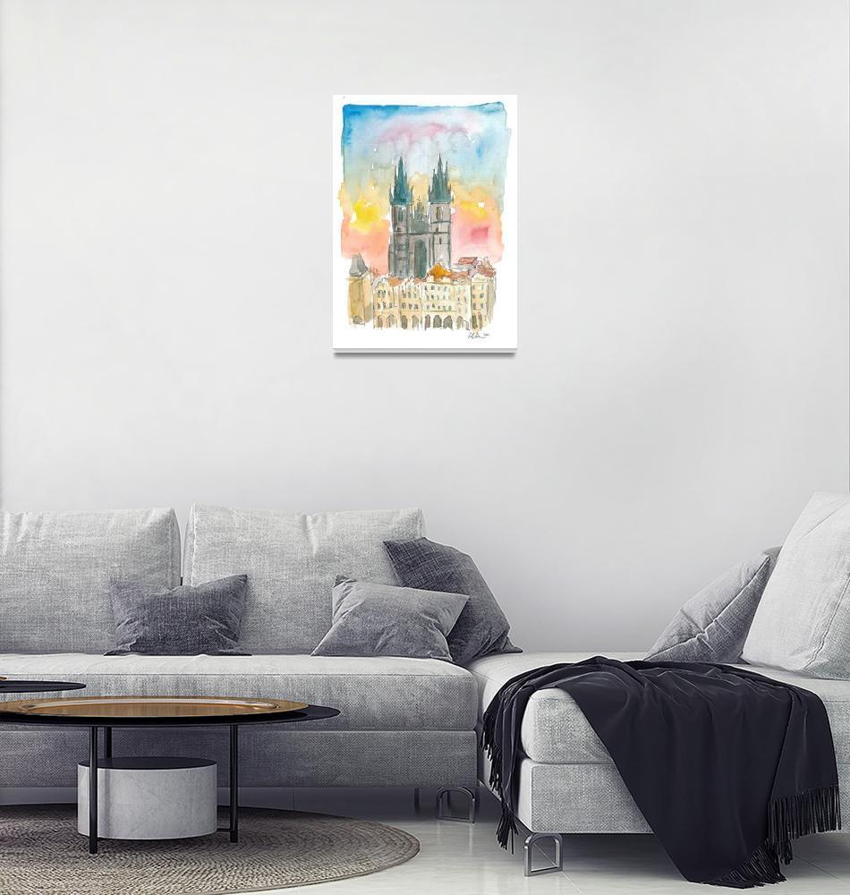 """Tyn Cathedral In Prague Czech Republic Impressioni""  (2020) by arthop77"
