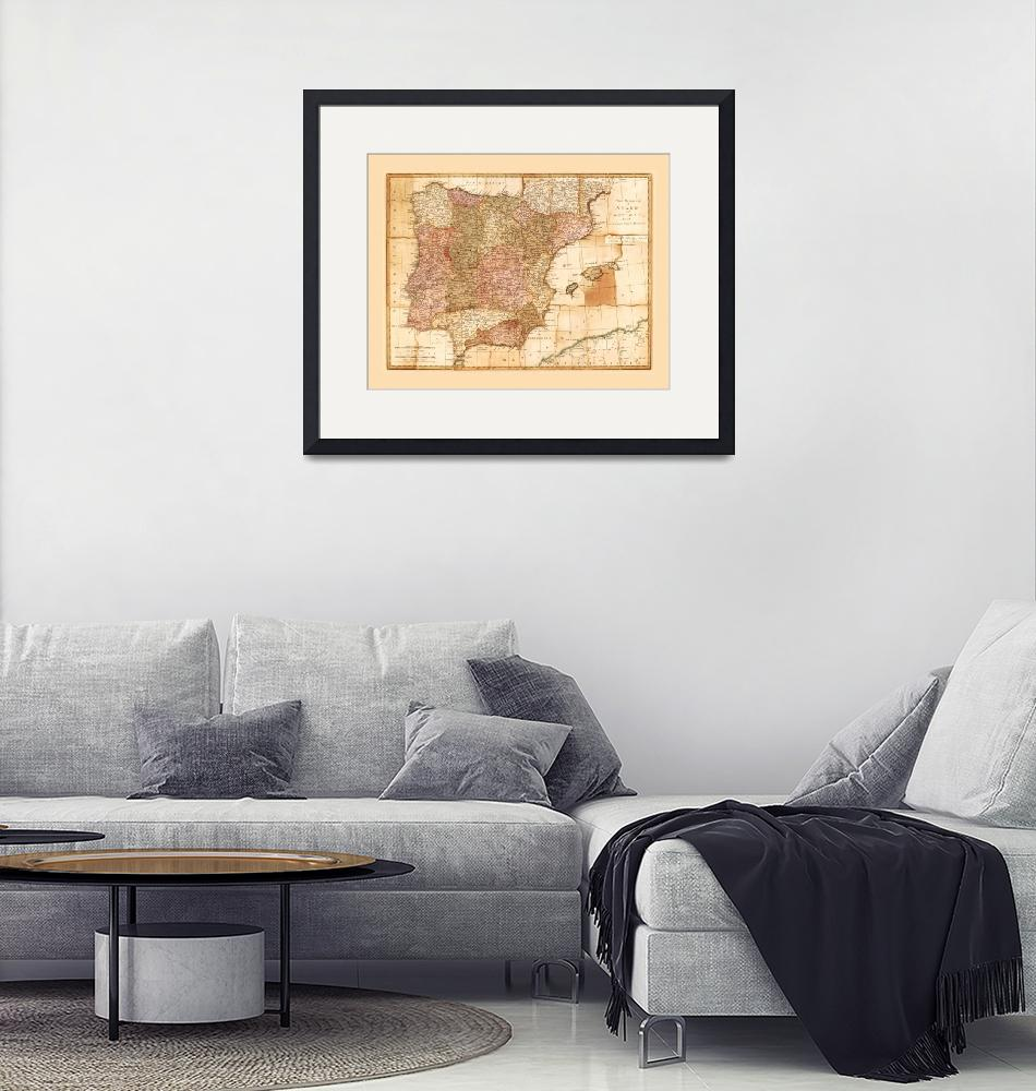 """""""Kingdoms of Spain and Portugal Map by Robert Sayer""""  by ArtHistory"""