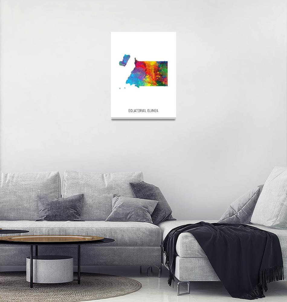 """Equatorial Guinea Watercolor Map""  (2019) by ModernArtPrints"