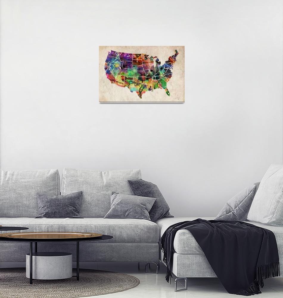 """USA Watercolor Map""  (2011) by ModernArtPrints"