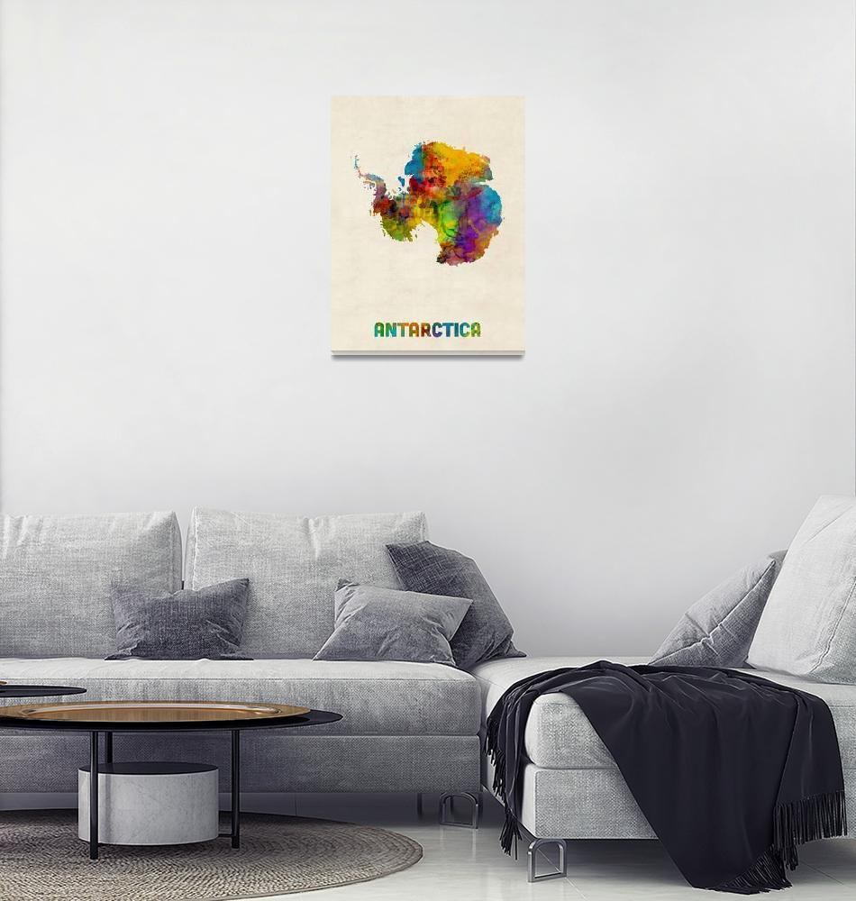 """Antarctica Watercolor Map""  (2018) by ModernArtPrints"