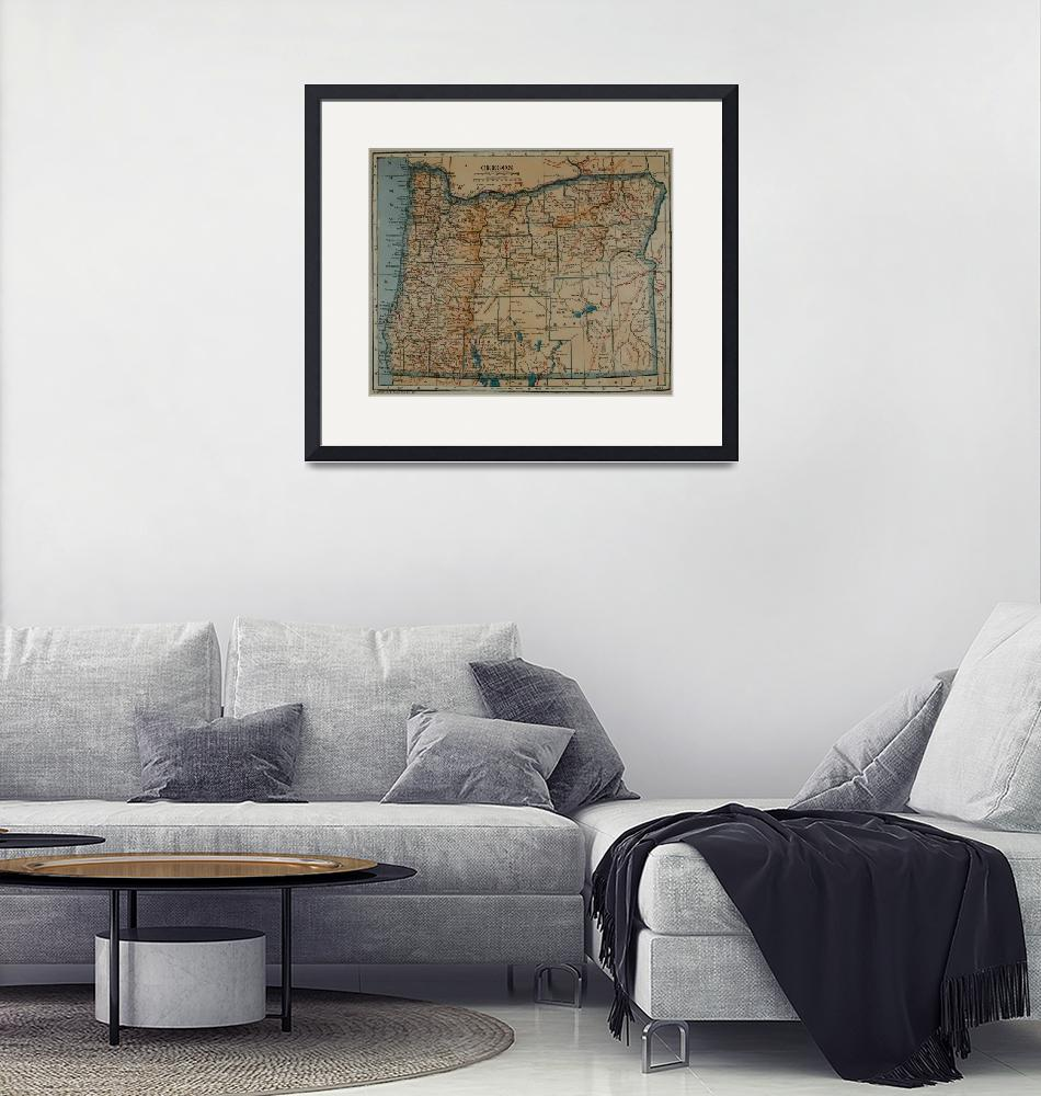"""Vintage Map of Oregon (1921)""  by Alleycatshirts"