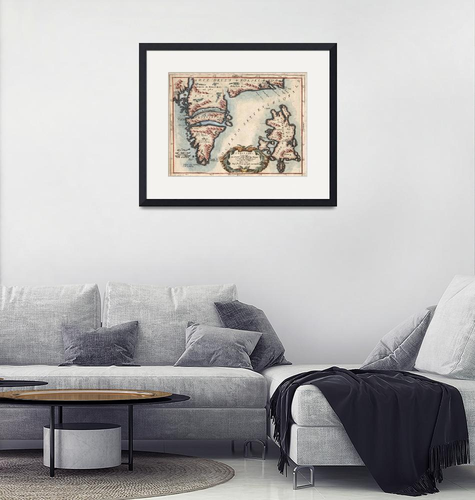 """Vintage Map of Greenland and Iceland (1694)""  by Alleycatshirts"