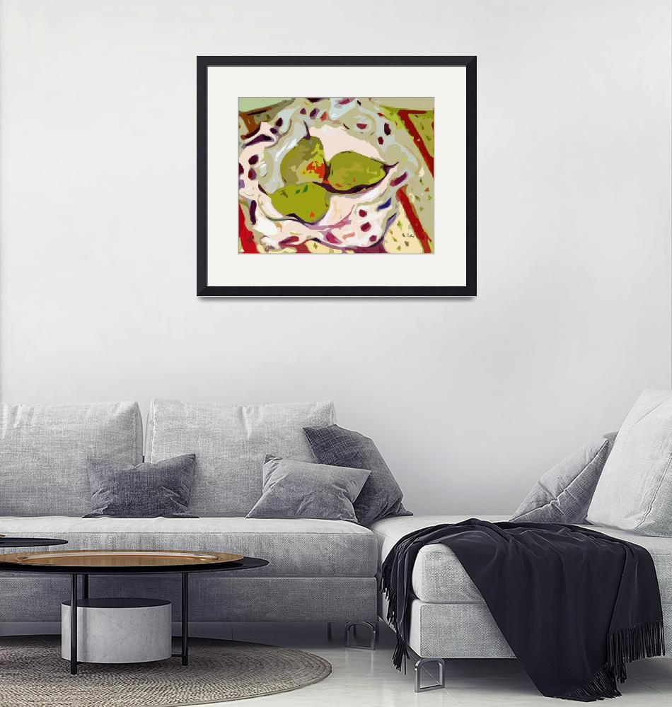 """Abstract Three Green Pears Art by Ginette""  (2012) by GinetteCallaway"
