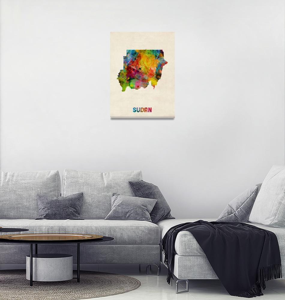 """Sudan Watercolor Map""  (2014) by ModernArtPrints"