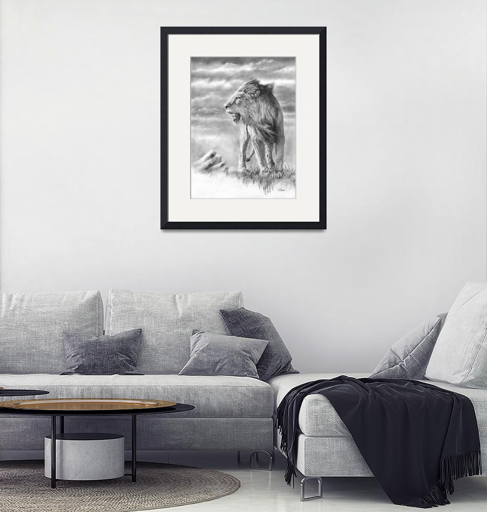 """""""New Horizon lion drawing"""" (2020) by MightyFineArt"""