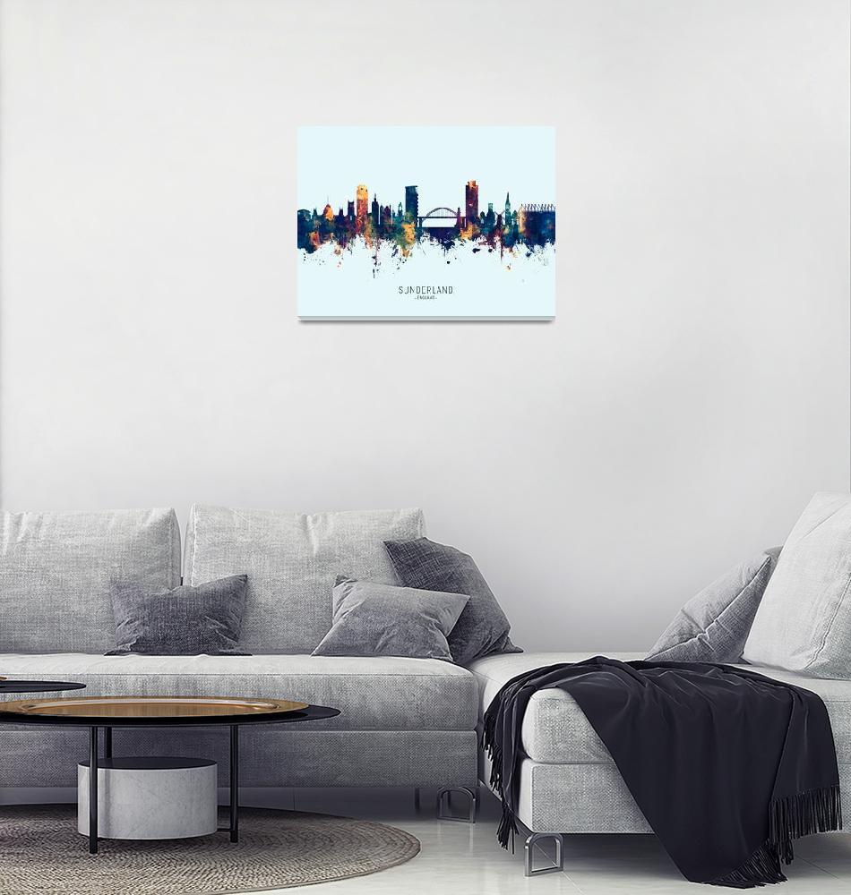 """Sunderland England Skyline""  (2019) by ModernArtPrints"