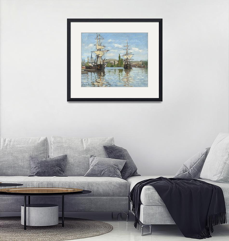 """""""Ships Riding on the Seine at Rouen by Claude Monet""""  by FineArtClassics"""
