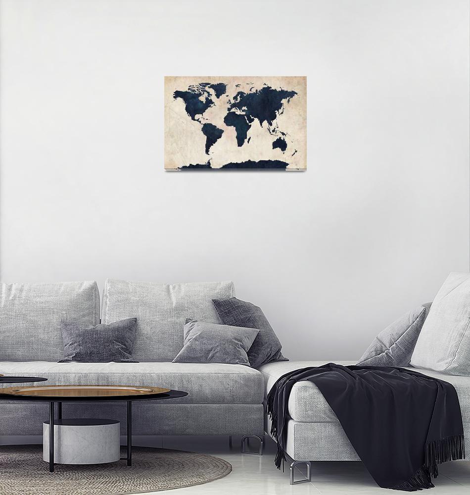 """World Map Distressed Navy""  (2011) by ModernArtPrints"