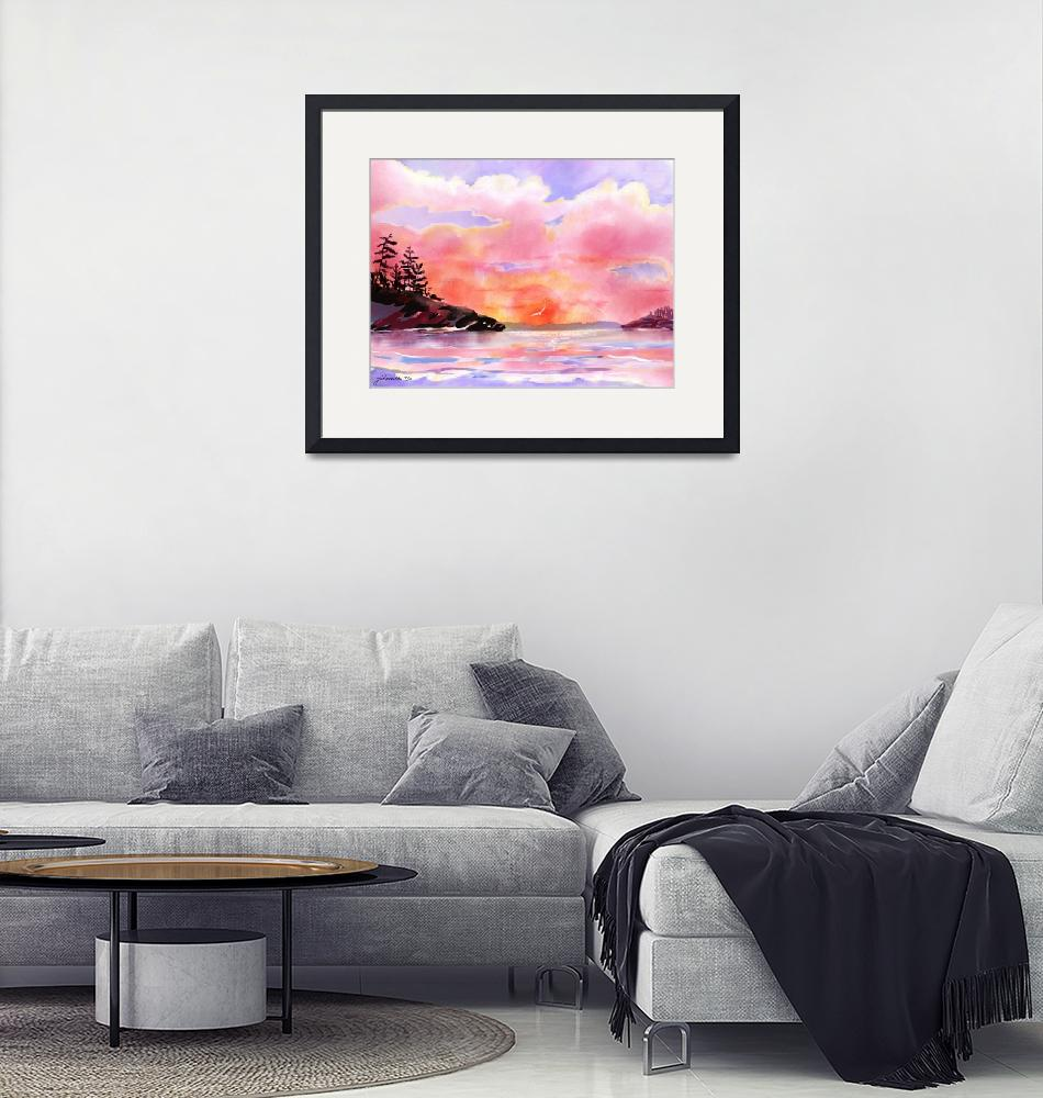 """Pink and Gold Sunset a digitally painted watercolo""  by JoanAHamilton"