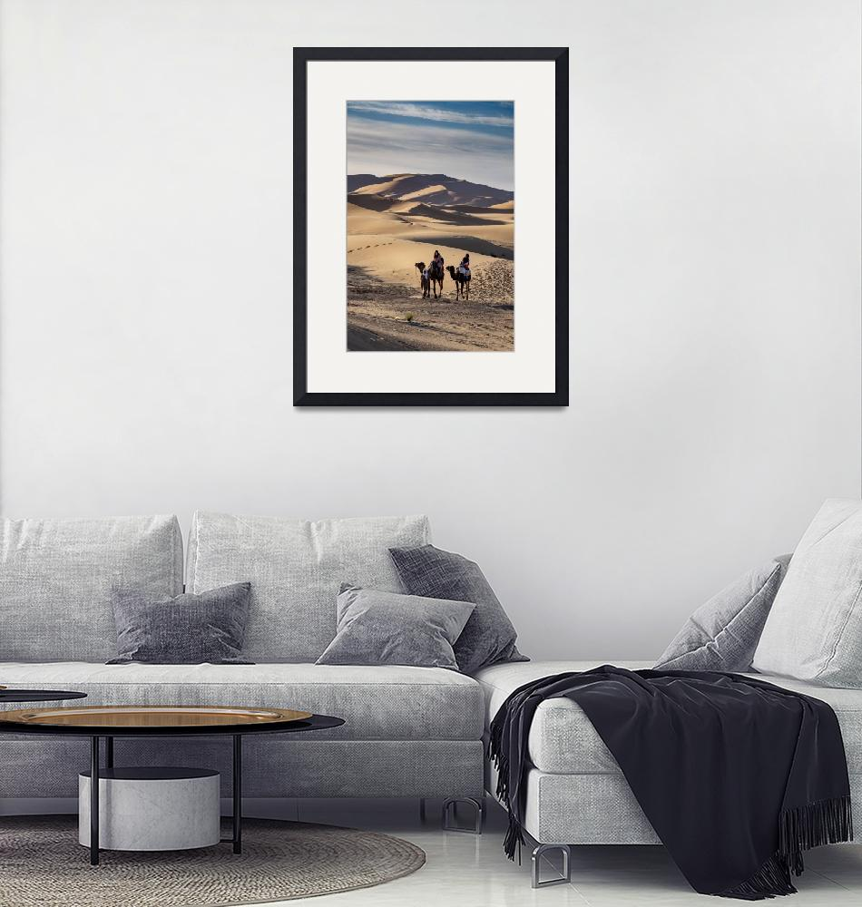 """""""Two Camels in Sand Dunes, Er-Risani, Sahara, Moroc""""  (2020) by SederquistPhotography"""