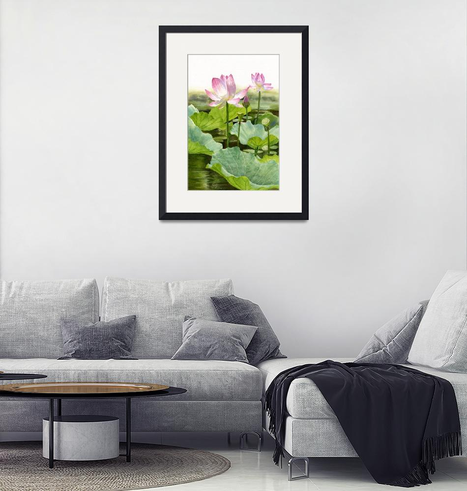 """Two Pink Lotus Blossoms with Bud""  (2015) by Pacific-NW-Watercolors"