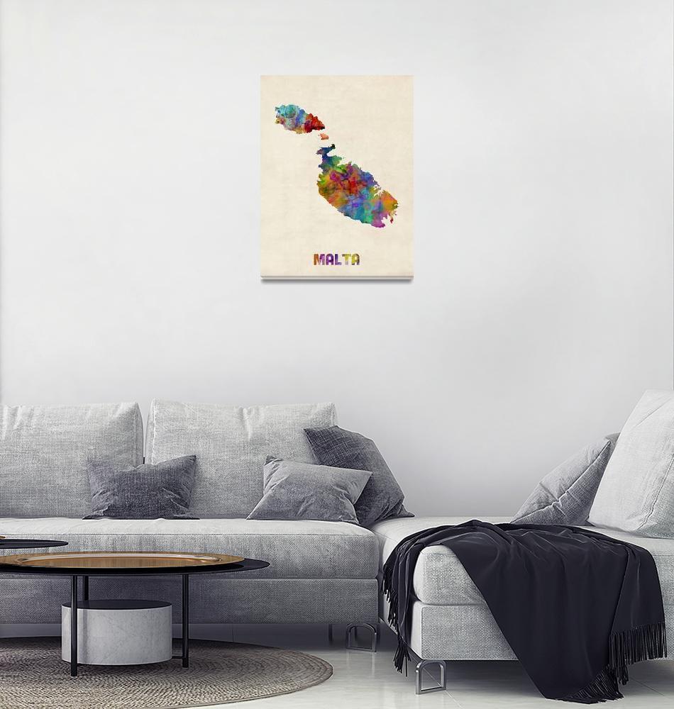 """Malta Watercolor Map""  (2014) by ModernArtPrints"