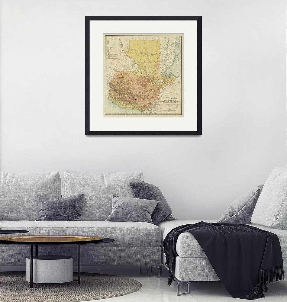 """""""Vintage Map of Guatemala (1902)""""  by Alleycatshirts"""