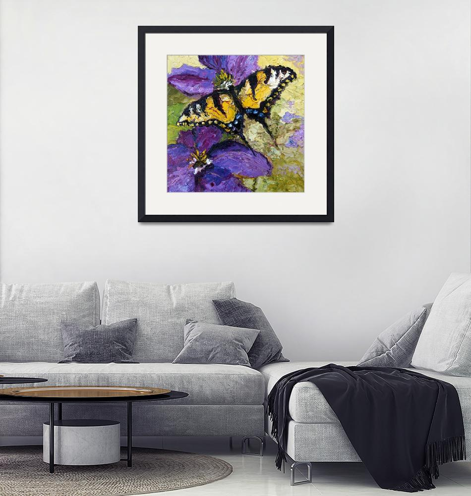 """""""Butterflies on Purple Flower Oil Painting""""  (2011) by GinetteCallaway"""