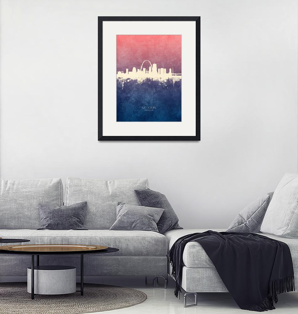 """St Louis Missouri Skyline""  (2019) by ModernArtPrints"