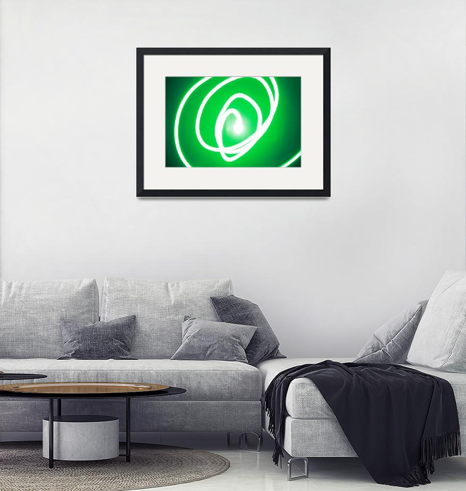 """""""Spiraling green string of light""""  (2012) by MikeMBurkeDesigns"""