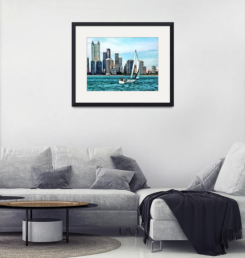 """Chicago IL - Sailboat Against Chicago Skyline""  by susansartgallery"