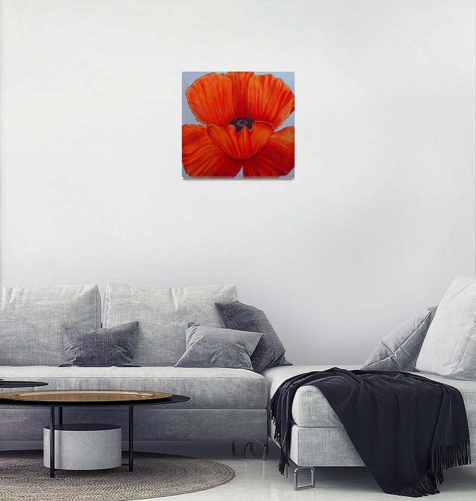 """Orange poppy(Acrylic)""  (2016) by ShaunaEggleston"