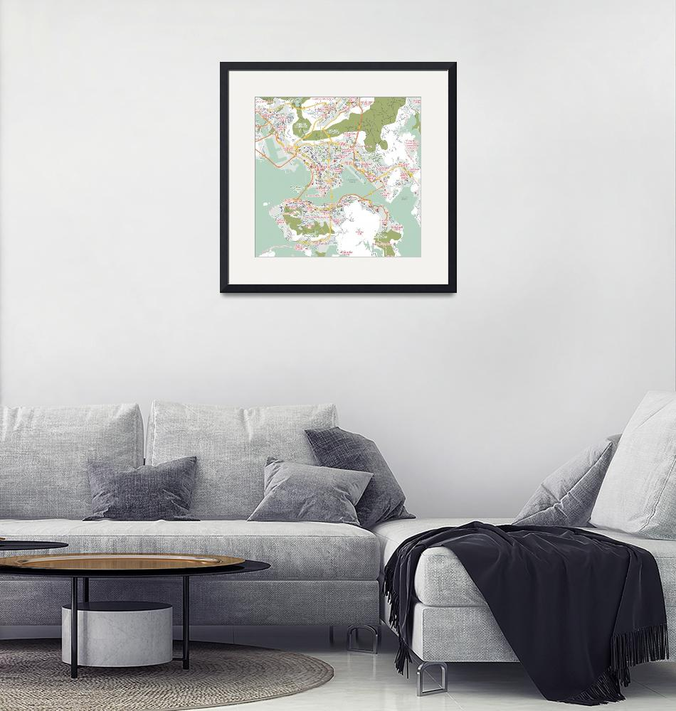 """Minimalist Modern Map of Honk Kong, China 7""  by motionage"