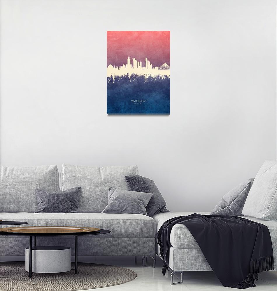 """Warsaw Poland Skyline""  (2019) by ModernArtPrints"