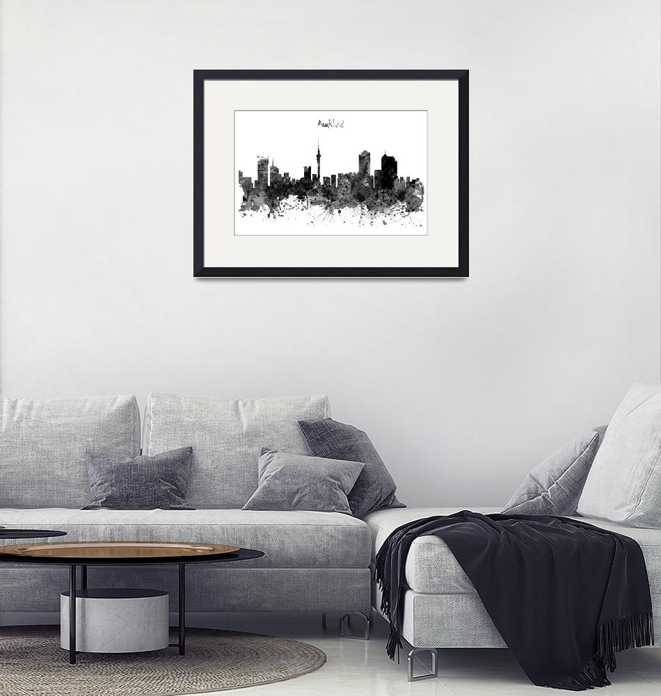 """""""Auckland Black and White Watercolor Skyline""""  (2016) by MarianVoicu"""