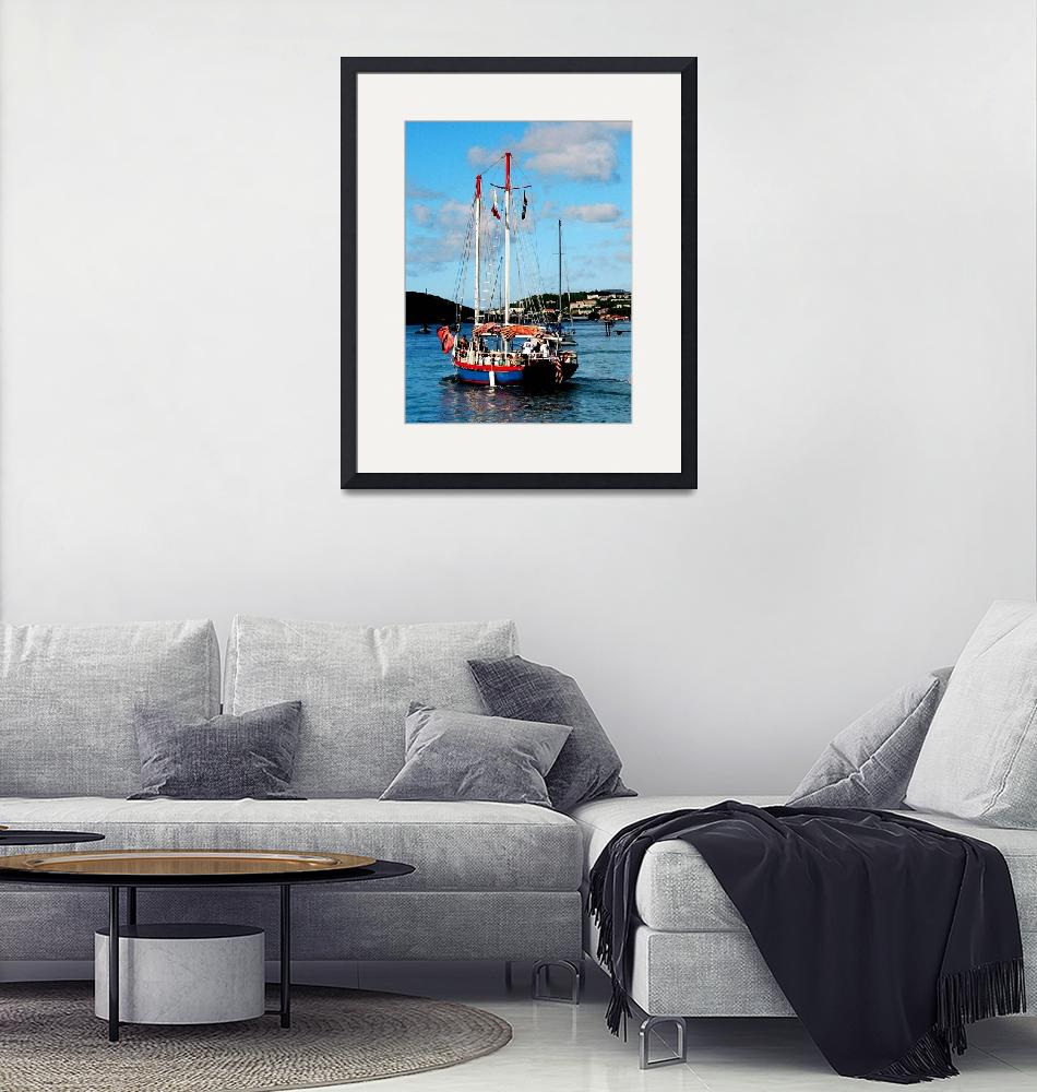 """""""Caribbean - Red White And Blue Boat At St Thomas""""  by susansartgallery"""