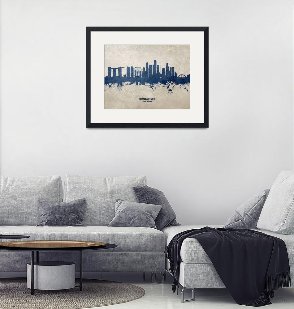 """Singapore Skyline""  (2020) by ModernArtPrints"