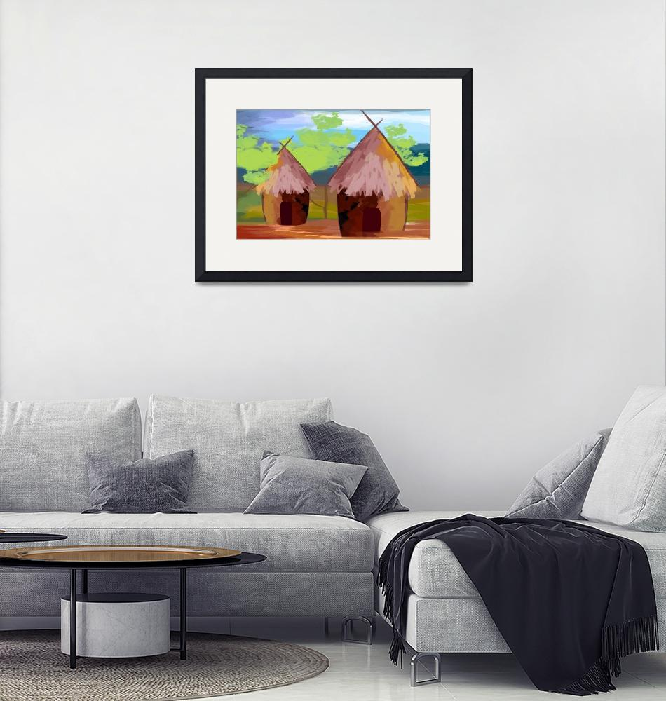 """two huts""  (2009) by digitalpainting"