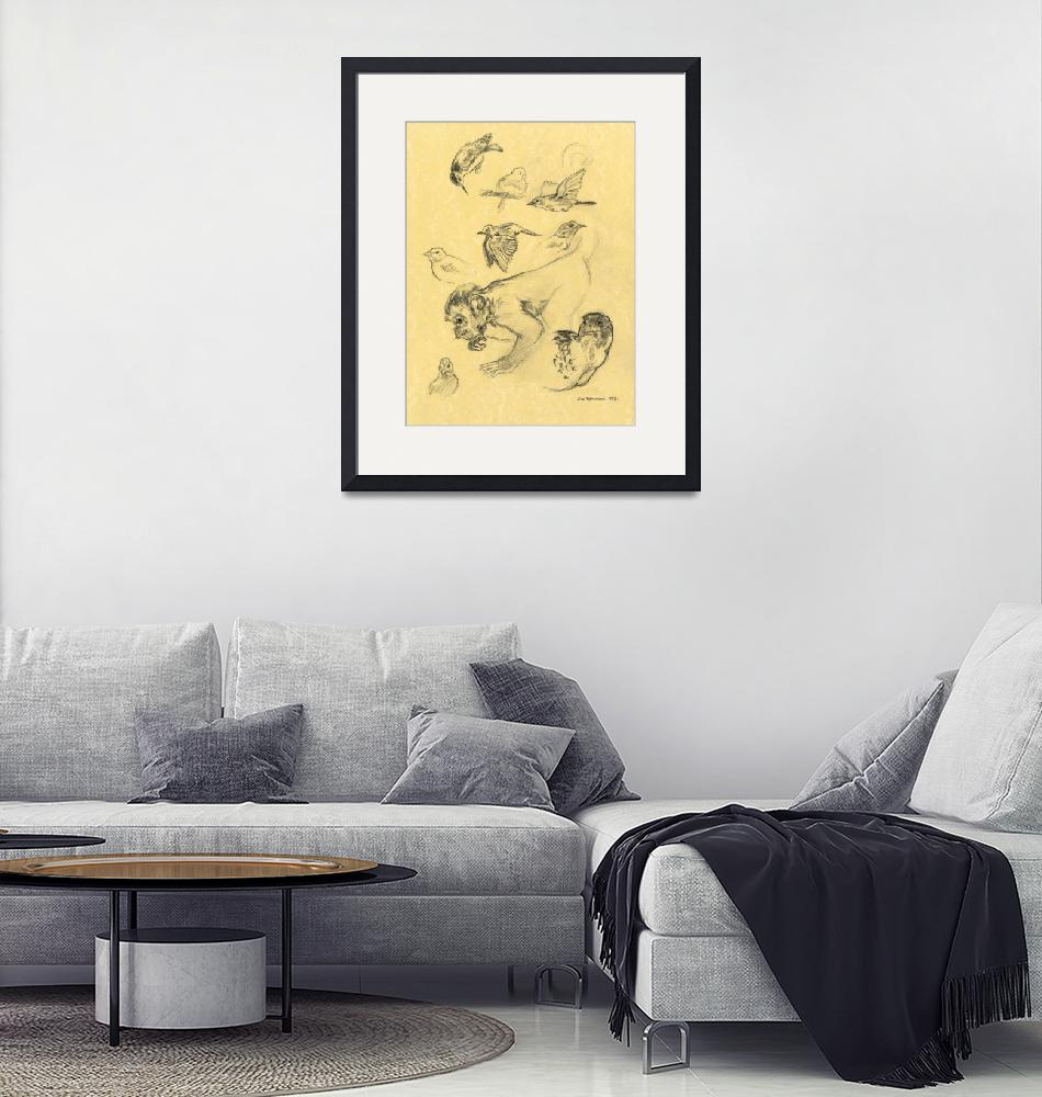"""""""Monkey and Birds""""  (1998) by Pencil-On-Paper"""